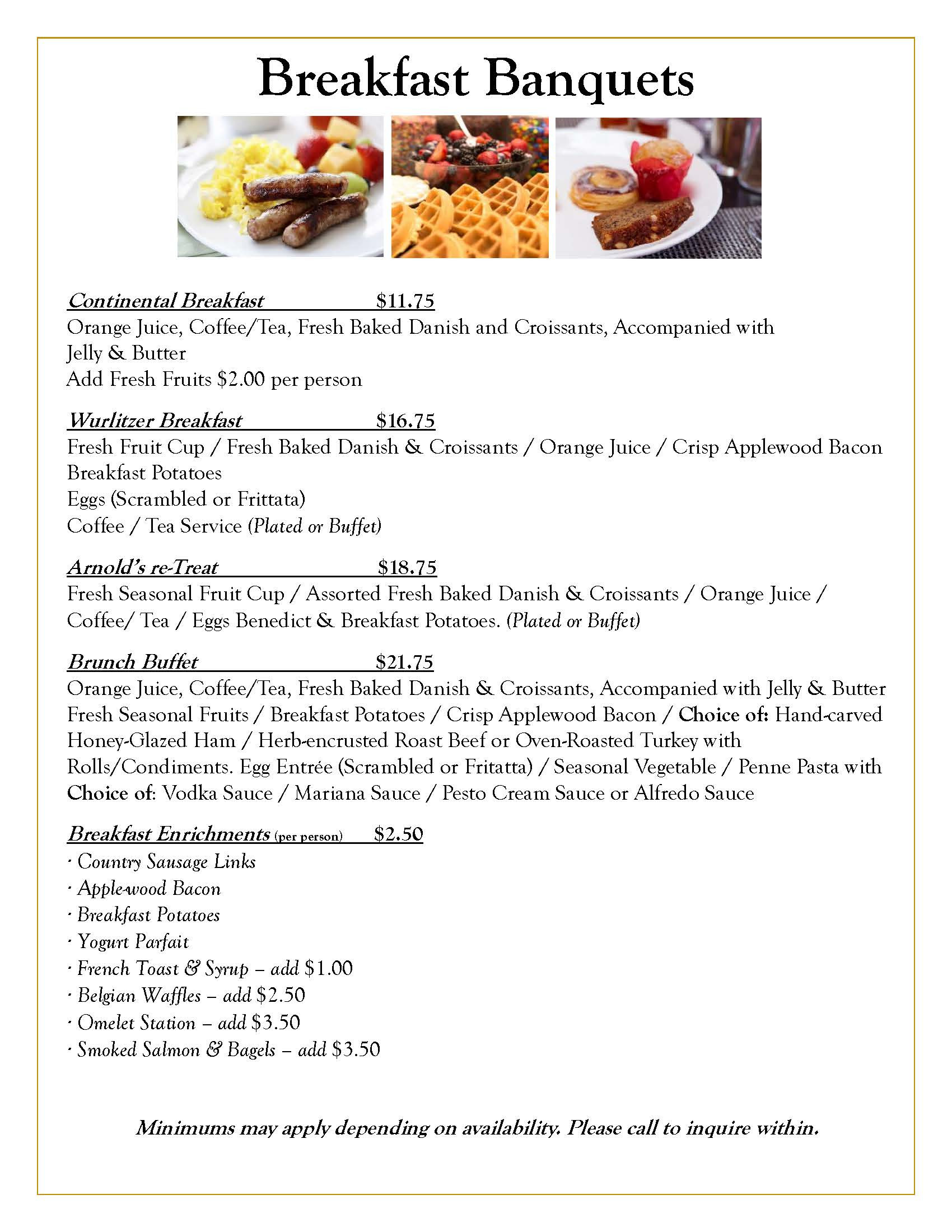 Wurlitzer Events Breakfast Banquets Catering Menu
