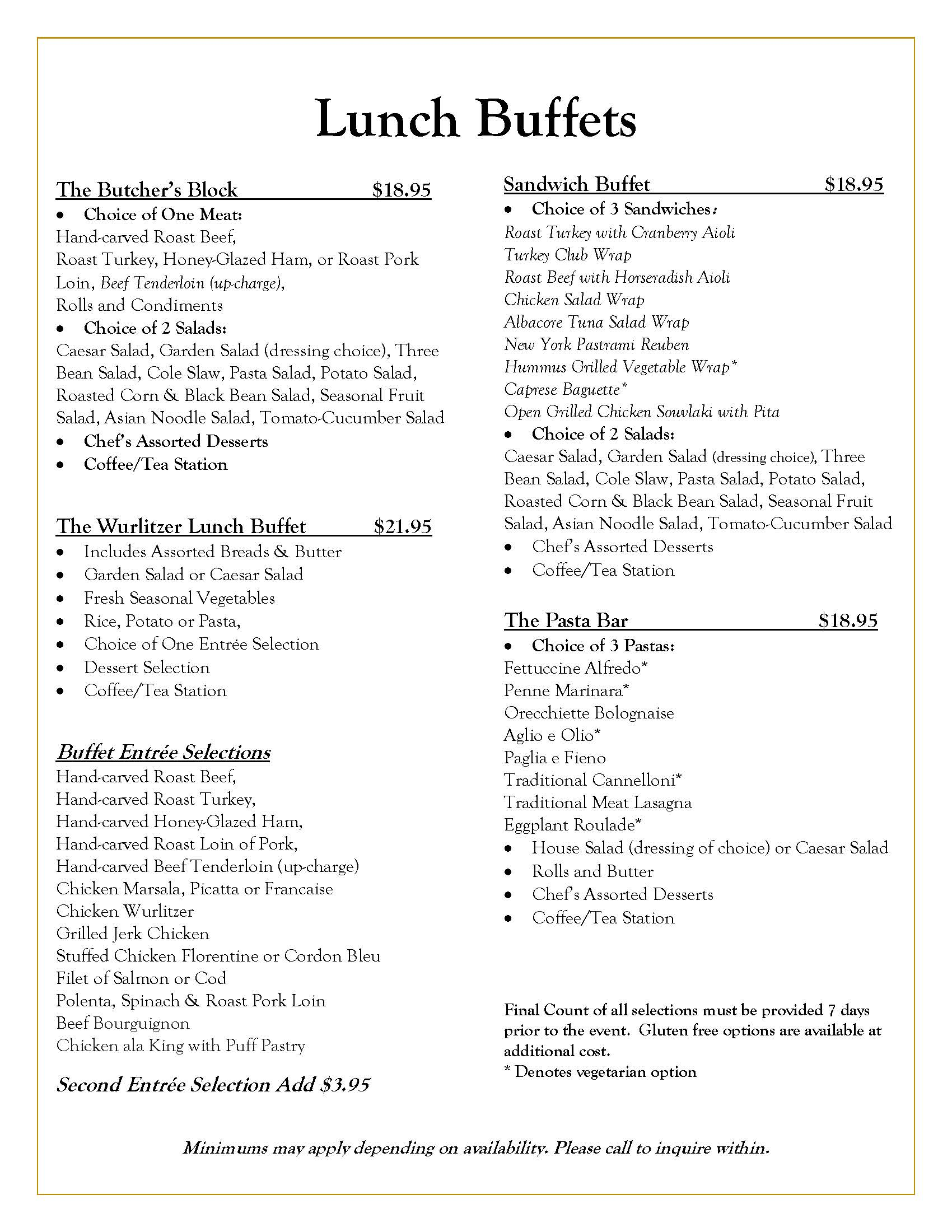Wurlitzer Events Lunch Banquets Menu