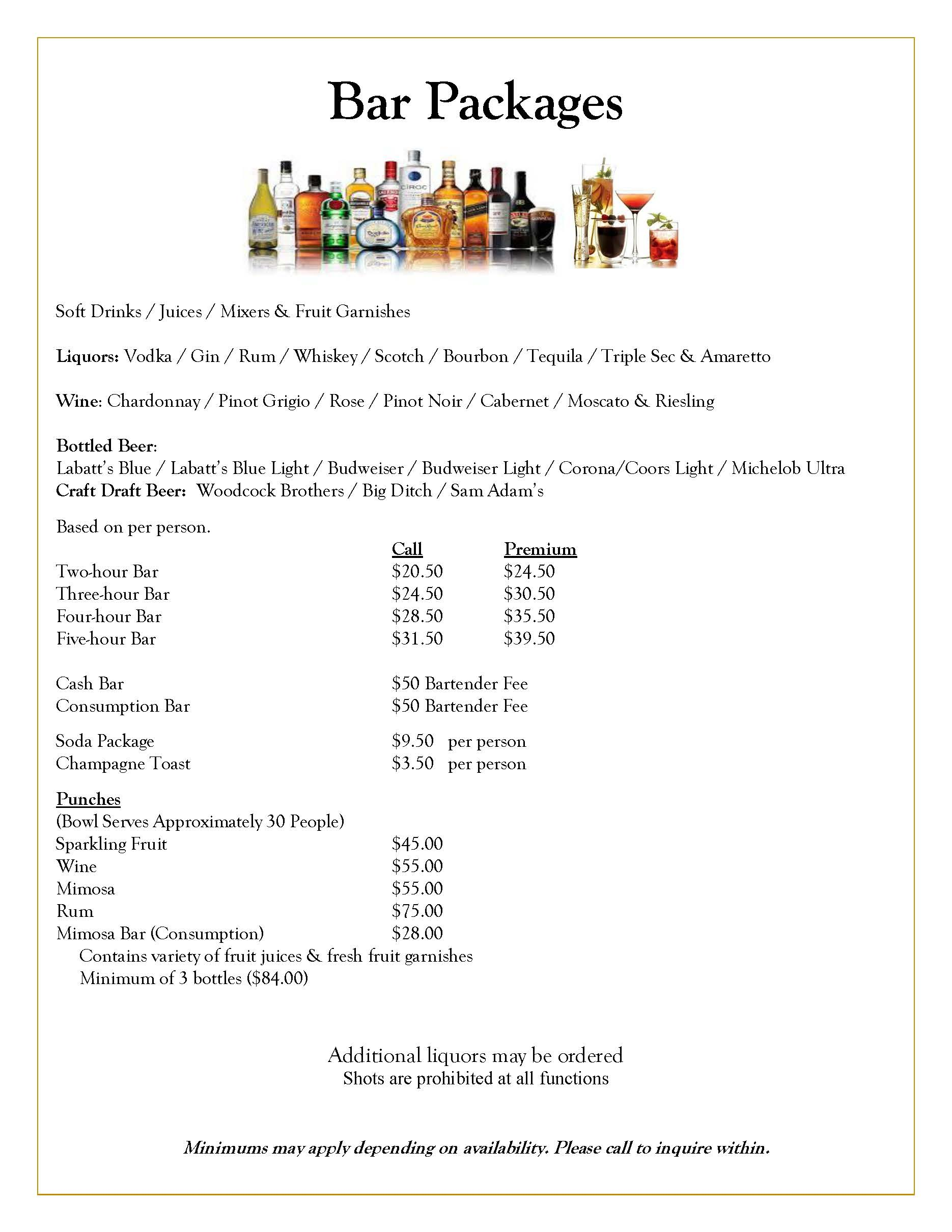 Dinner Banquets Bar Package