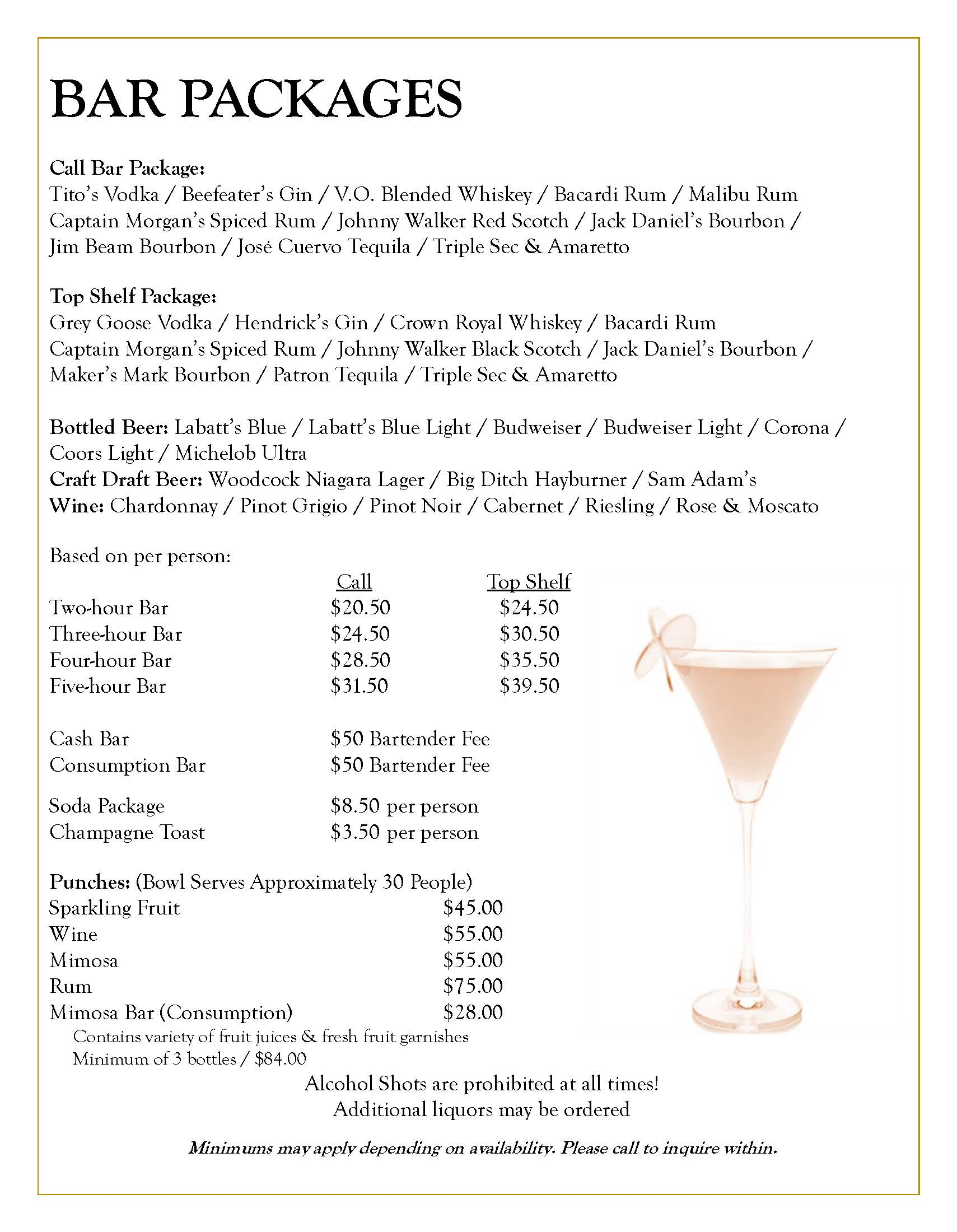 Wedding Bar Packages